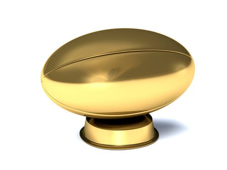Closeup on a golden rugby trophy