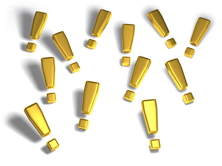 Gold exclamation marks on a white background with soft shadows