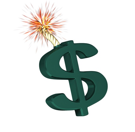 Big Dollar symbol that'll explode on a white background Stock Photo - 8850874