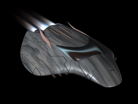 Powerful spaceship very streamlined in action photo