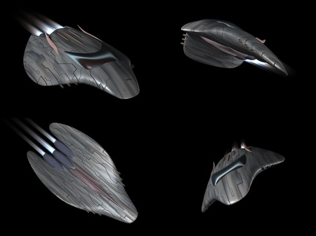 Four views of a powerful spaceship very streamlined in action