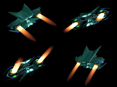 Four back views of an alien space ship on a black background