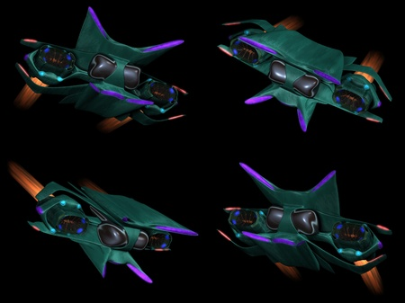 Four front views of an alien space ship on a black background photo