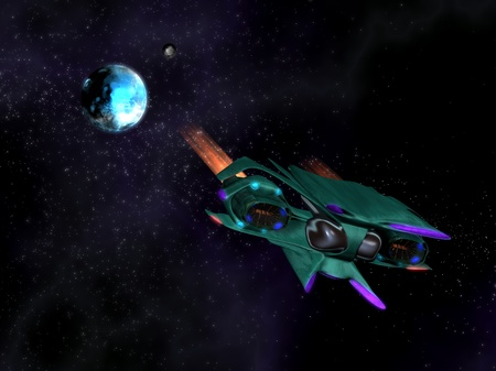 Alien space ship in action in the space with a planet, stars and nebulae in background