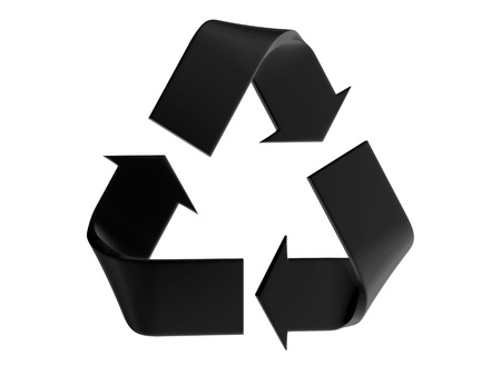 recycling logo: Black recycle sign on a white background