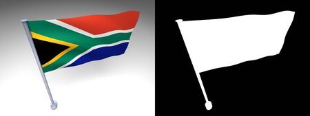 South Africa flag on a pole with alpha channel Stock Photo - 10462655