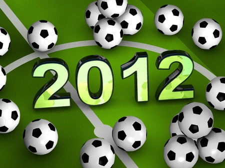 2012 in the middle of a green playground with many soccerballs Stock Photo - 10566044