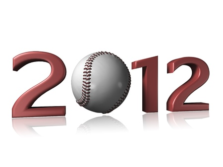 2012 baseball design on a white background with a little reflection