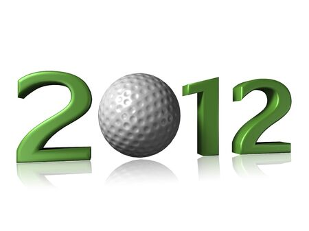 2012 golf design on white background with a little reflection 写真素材