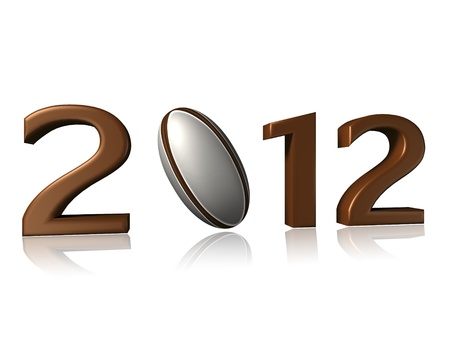 2012 rugby design on white background with a little reflection 写真素材
