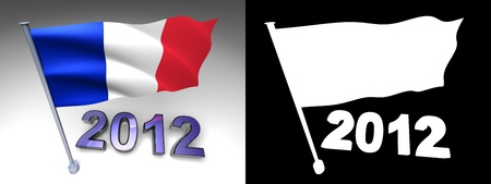 2012 design and France flag on a pole with alpha channel photo