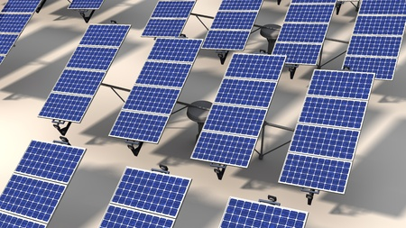 Field of articulated solar panels with morning light on a white background photo