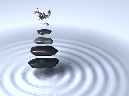 Five stones and white orchids in levitation above white regular and circular waves photo