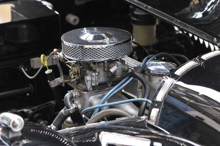 chromed: Chromed motor of an old black Morgan car