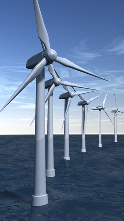 Offshore wind turbines with a blue sky in portrait composition photo