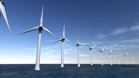 Seascape of offshore wind turbines with a blue sky Stock Photo