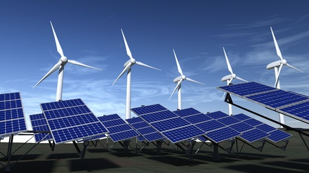 Wind turbines and articulated solar panels with a blue sky Banco de Imagens - 11010924