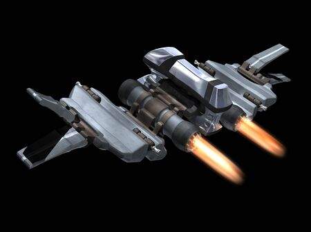 Back and above view of a StarFighter in action with a black background