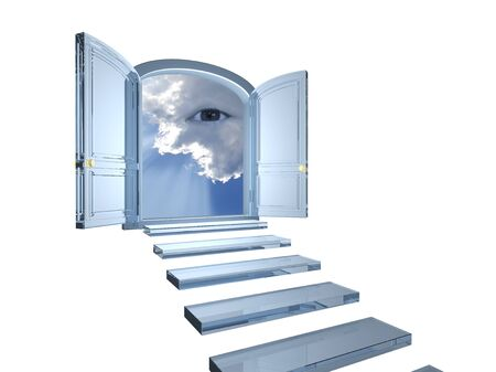 omnipresent: Big crystal door opened on a mystic eye in clouds with a white background