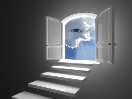 opened: Big white door on a dark wall opened on a mystic eye in clouds Stock Photo