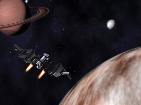 StarFighter in action in space with planets, satellites and stars
