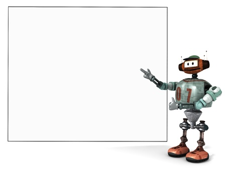 flaunt: Djoby the robot showing proudly a big empty poster with a white background