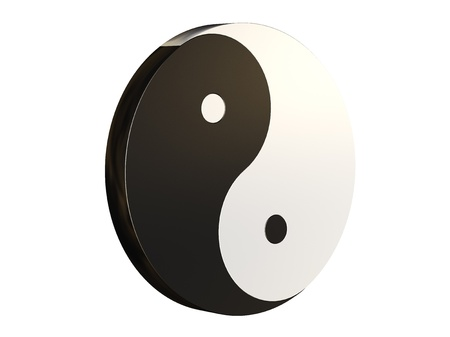 3D and brown Yin Yang with a white background