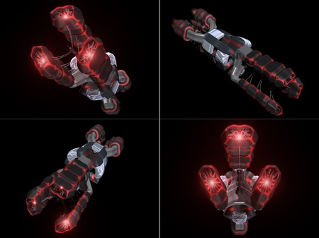 front views: Four Front Views of Black and Red Space Ship with a black background