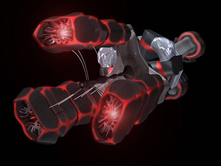 speed gun: Front of Black and Red Space Ship with a black background Stock Photo