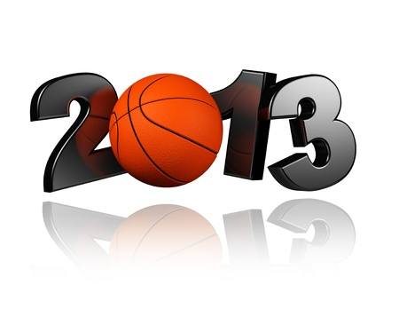 Basketball 2013 with a White Background Banco de Imagens