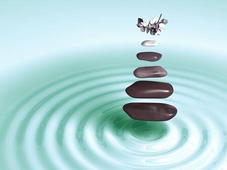 levitacion: Las piedras en levitaci�n con orqu�deas verdes por encima de las ondas circulares