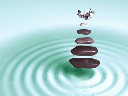 Stones in Levitation with orchids above green circular waves photo