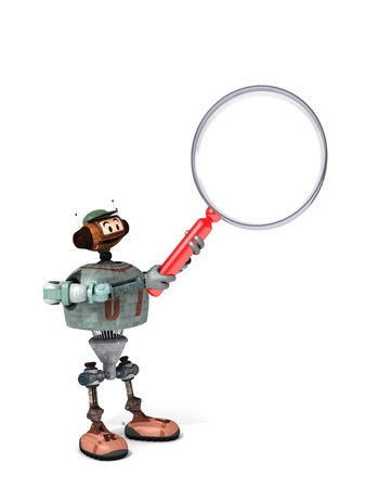 Djoby the Robot Holding Up a Magnifying Glass with a White Background