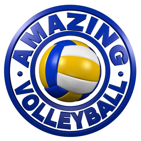 Amazing Volleyball circular design with a white background Stock Photo
