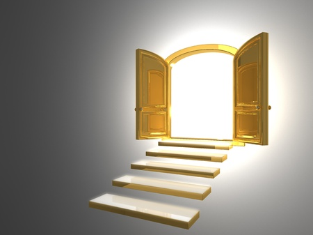 Big Golden Door opened on white with some gold steps Stock Photo - 16950878