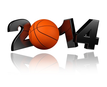 Basketball 2014 with a White Background Stock Photo