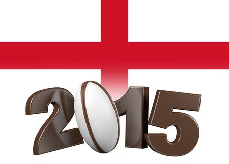 Brown Rugby 2015 design with England Flag Banco de Imagens - 37565768