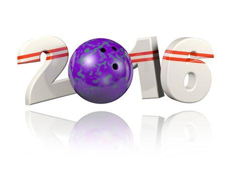 Bowling 2016 design with a White Background Reklamní fotografie