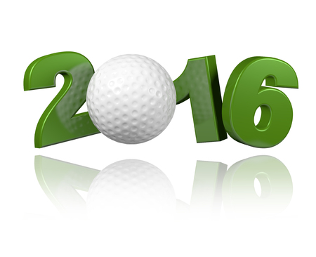 Golf 2016 design with a White Background Stock Photo