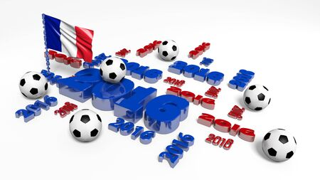 world sport event: Football 2016 design with French Flag and Balls on a white background Stock Photo