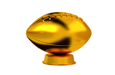 American Football trophy in Gold with a white background