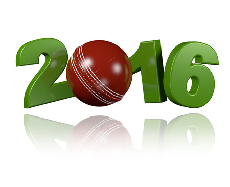 innings: Cricket ball 2016 design with a white Background