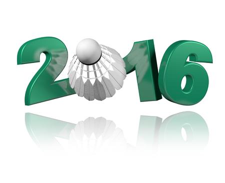 Badminton 2016 design with a white Background Stock Photo