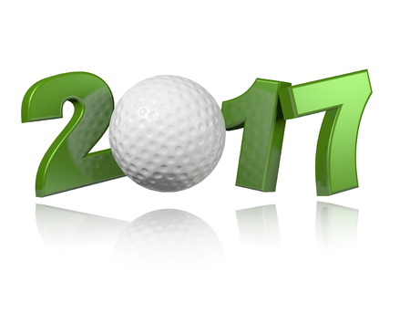 Golf 2017 design with a White Background Stock Photo