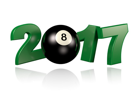 8 ball: Pool ball 2017 design with a White Background Stock Photo