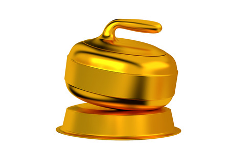 Curling Golden Trophy with white background