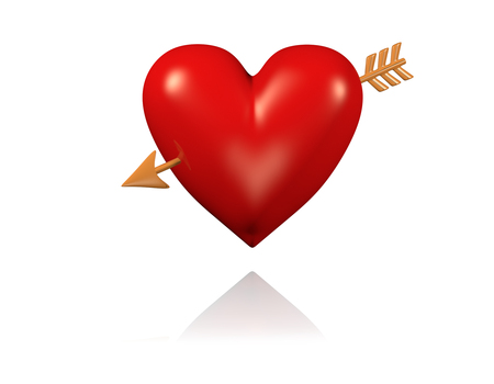 One Big and Red Heart with Golden Arrow with White Background Stock Photo