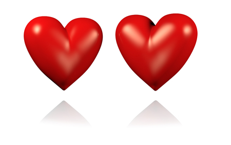 Two Big and Red Hearts with White Background