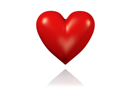 One Big and Red Heart with White Background