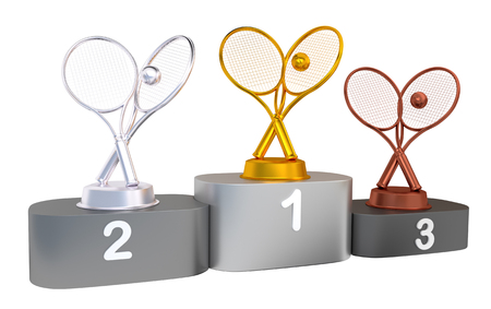Tennis Podium with Gold Silver and Bronze Trophy with white background